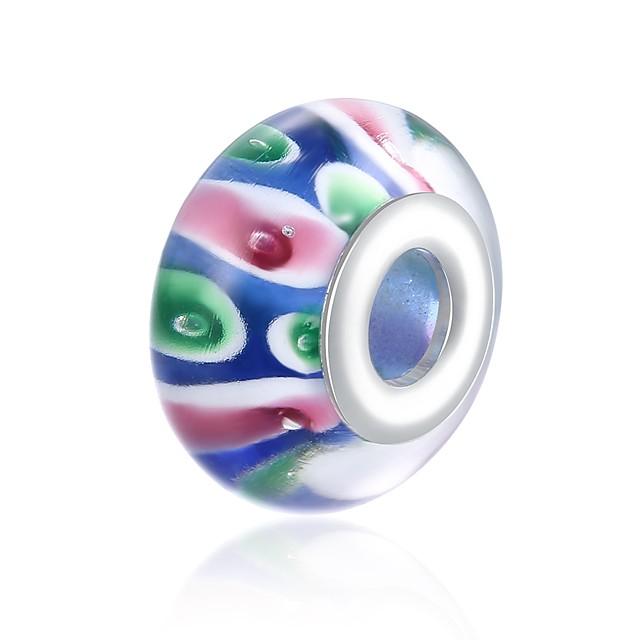 DIY Jewelry 1 pcs Beads Glass Silver Rainbow Ball Bead 1.5 cm DIY Necklace Bracelet