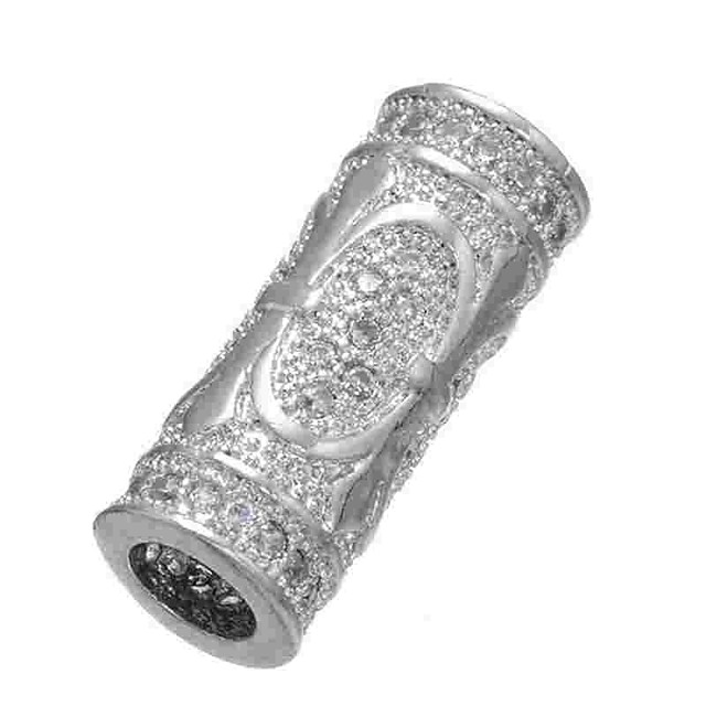 DIY Jewelry 1 pcs Beads Imitation Diamond Alloy Gold Silver Cylinder Bead 0.5 cm DIY Necklace Bracelet
