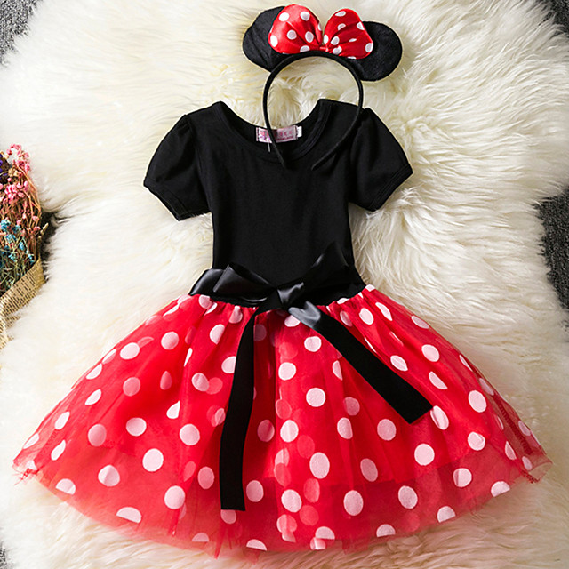 Toddler Girls' Casual Daily Holiday Polka Dot Layered Short Sleeve Cotton Dress Red