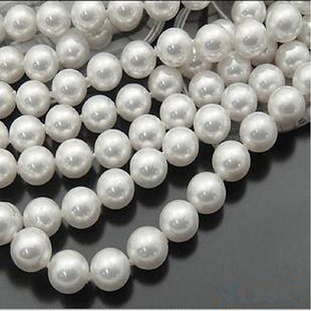 DIY Jewelry 46 pcs Beads Imitation Pearl White Round Bead 0.8 cm DIY Necklace Bracelet