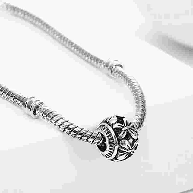 DIY Jewelry 1 pcs Beads Alloy Silver Oval Bead 0.2 cm DIY Necklace Bracelet