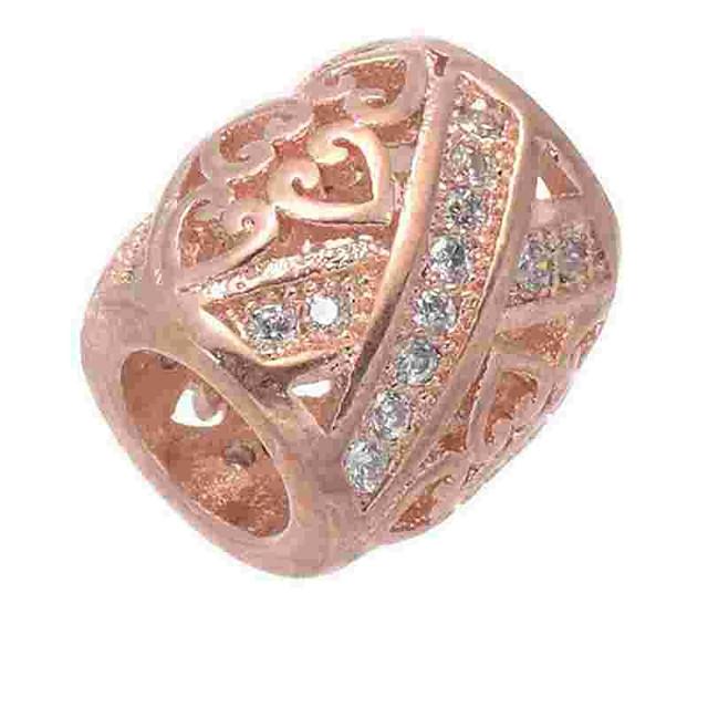 DIY Jewelry 1 pcs Beads Imitation Diamond Alloy Silver Rose Gold Cylinder Bead 0.5 cm DIY Necklace Bracelet