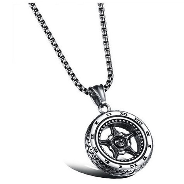 Men's Women's Pendant Necklace Tire Vintage scottish Alloy Silver Necklace Jewelry For Daily Street