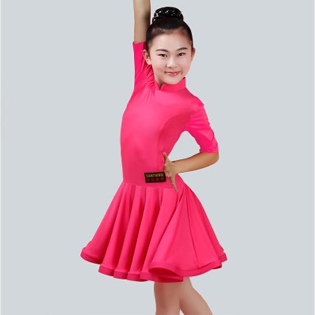 Latin Dance Dress Ruching Girls' Performance Half Sleeve Spandex