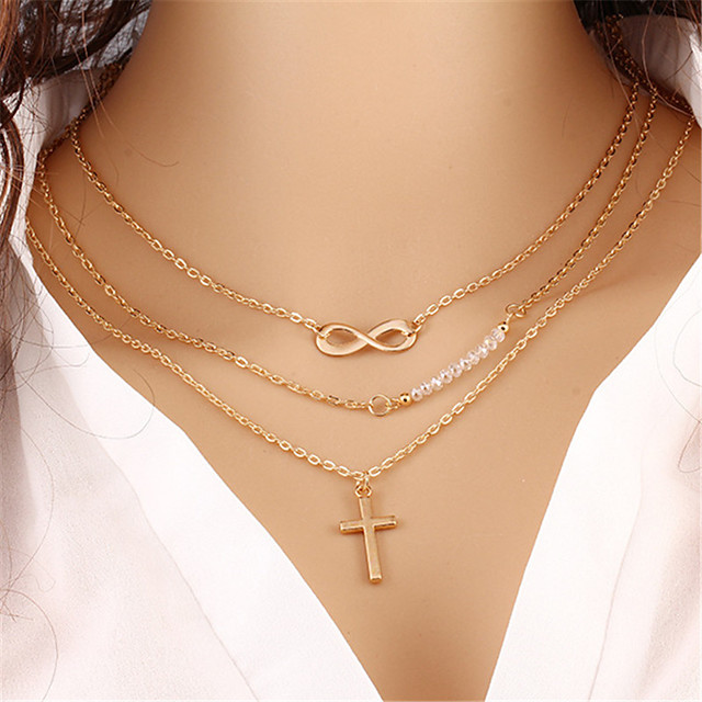 Women's Layered Necklace Layered Cross Infinity Bohemian Multi Layer Acrylic Alloy Gold Necklace Jewelry One-piece Suit For Holiday Street