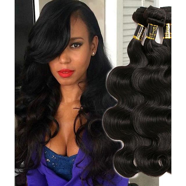 3 Bundles Hair Weaves Indian Hair Wavy Human Hair Extensions Remy Human Hair 100% Remy Hair Weave Bundles 300 g Natural Color Hair Weaves / Hair Bulk Human Hair Extensions 8-28 inch Natural Color