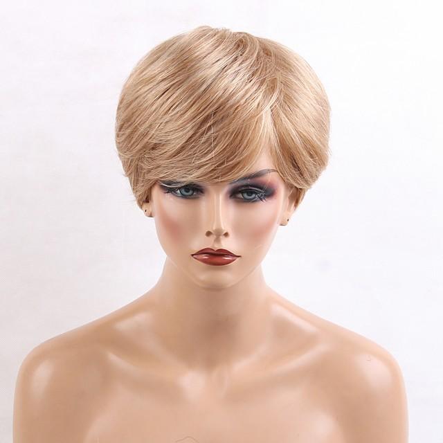 Human Hair Blend Wig Natural Wave Layered Haircut Natural Wave Side Part Machine Made Natural Black #1B Medium Auburn / Bleach Blonde Strawberry Blonde / Light Blonde 10 inch