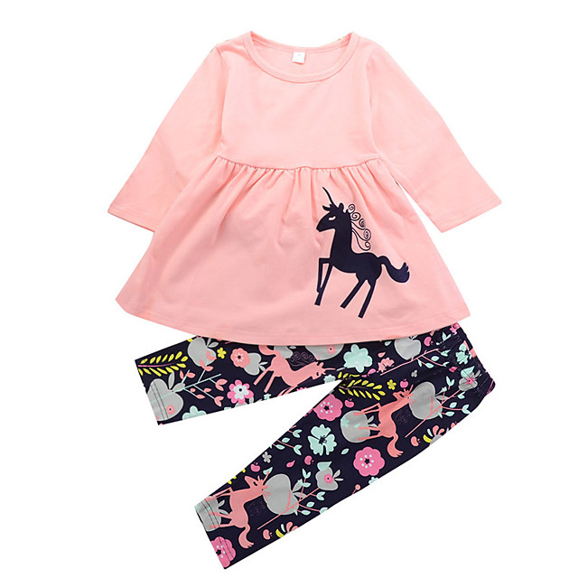 Toddler Girls' Casual Daily Holiday Unicorn Floral Print Animal Ruched Modern Style Cartoon Long Sleeve Long Long Clothing Set Blushing Pink / Cute