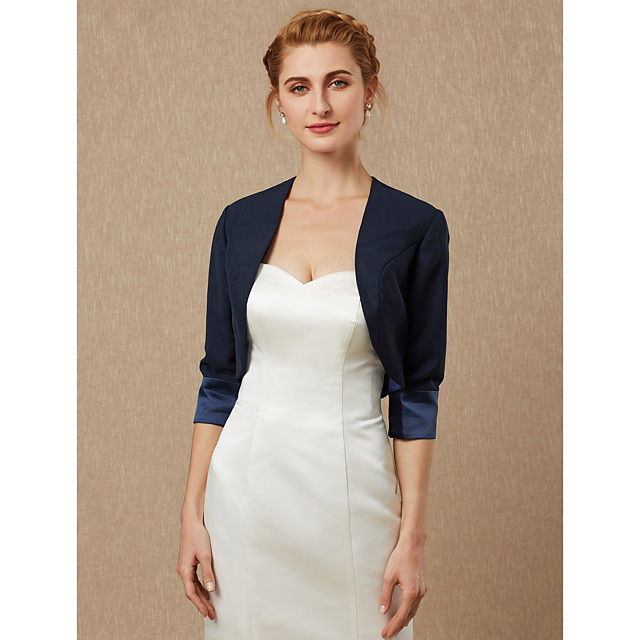 3/4 Length Sleeve Shrugs Satin Wedding / Party / Evening Women's Wrap / Bolero With Draping / Solid