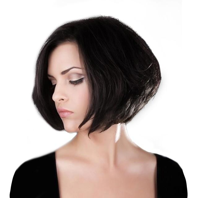 Menselijk haarmengsel Pruik Recht Bobkapsel Korte kapsels 2020 Recht  Natuurlijke haarlijn Machinegemaakt Zwart medium Auburn Medium Auburn / Bleach Blonde 12 inch