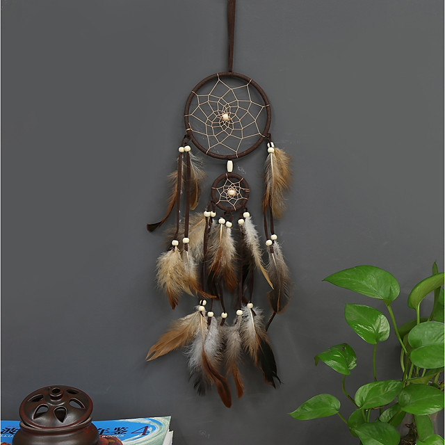 Handmade Dream Catchers With Feather Traditional Wall Hangings Decoration