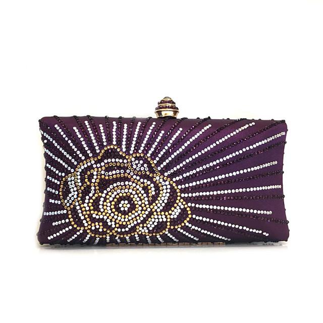 Жен. Мешки Металл Вечерняя сумочка Кристаллы Цветочный принт Лиловый