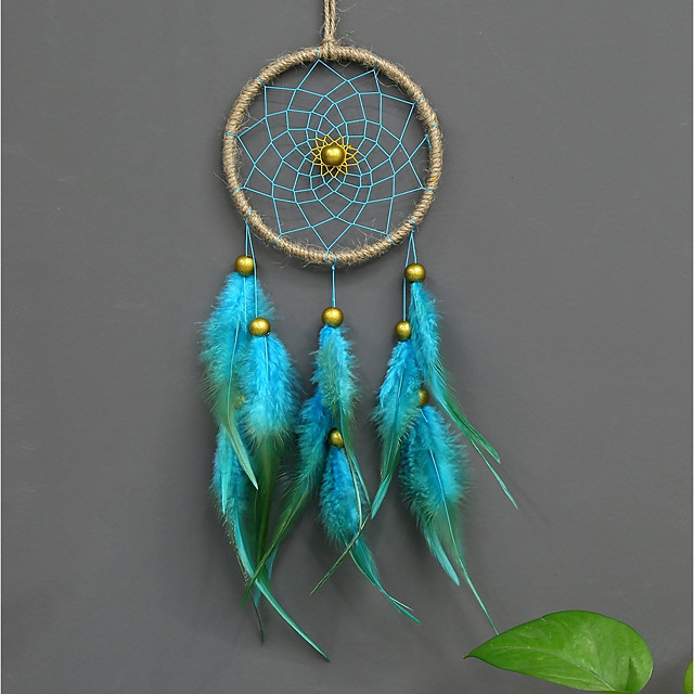 Handmade Feather Beaded Dream Catcher Indians Traditional Art Wall Hanging Home Decoration