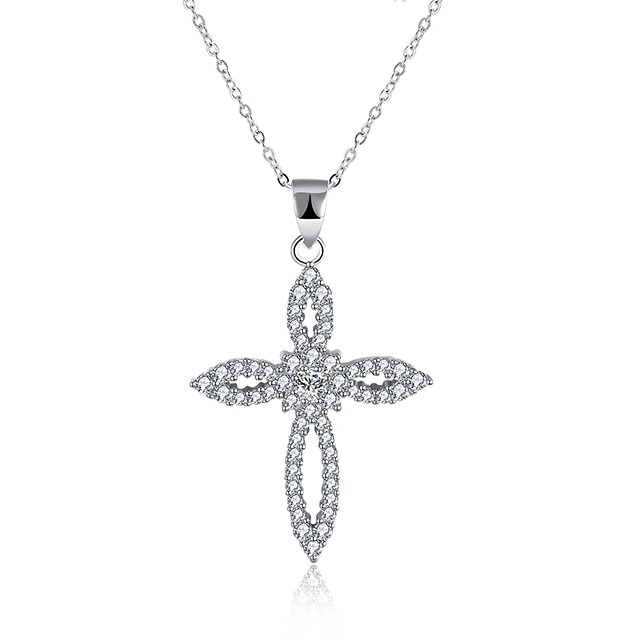 Women's Cubic Zirconia tiny diamond Pendant Necklace Cross Circle Cross Ladies Fashion S925 Sterling Silver Silver Necklace Jewelry One-piece Suit For Gift Daily