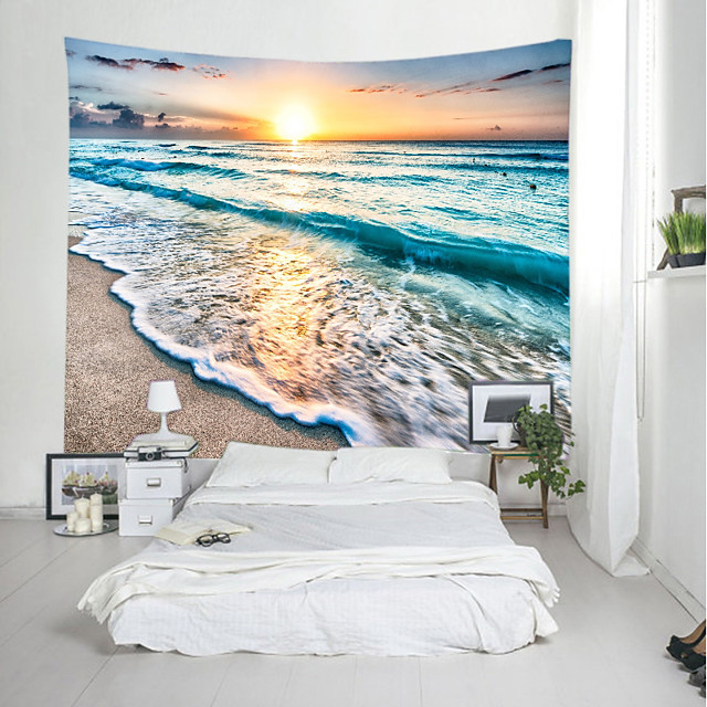 Wall Tapestry Art Decor Blanket Curtain Picnic Tablecloth Hanging Home Bedroom Living Room Dorm Decoration Landscape Beach Sea Ocean Wave Sunrise Sundset