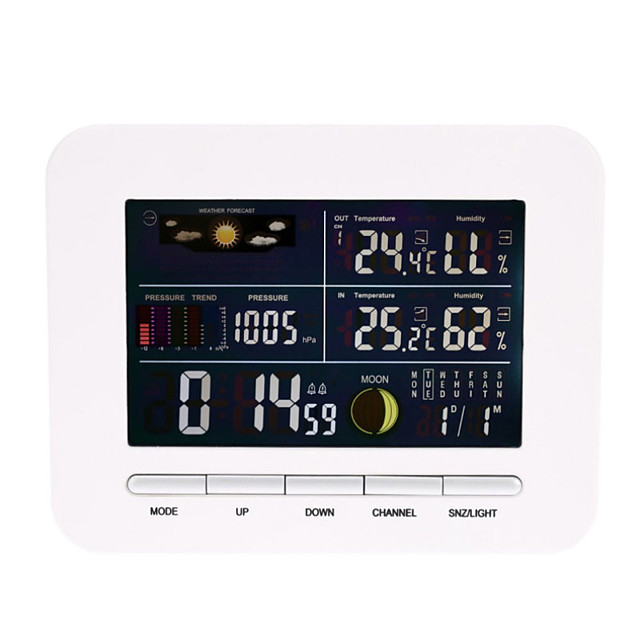 Smart Thermometer Receiver Alarm Clock Temperature and Humidity Sensor Hygrometer 1pack LCD ON / OFF Indoor Office Kitchen Home Outdoor