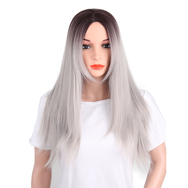 Synthetic Wig Yaki Straight Yaki Straight Layered Haircut Wig Long Grey Synthetic Hair Women's Middle Part Gray