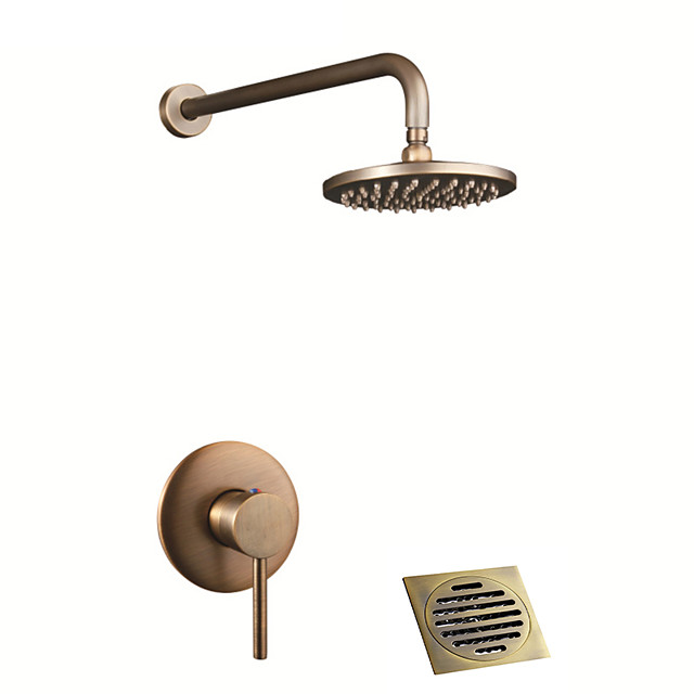 Shower Faucet - Country Antique Brass / Antique Copper Shower System Ceramic Valve Bath Shower Mixer Taps With Drain / Single Handle Three Holes