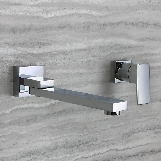 Bathroom Sink Faucet - Rotatable Chrome Wall Mounted Single Handle Two HolesBath Taps