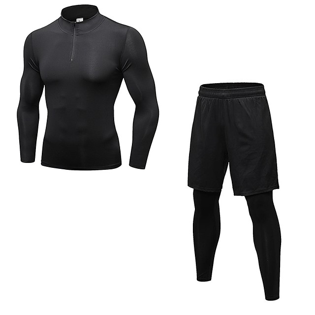 Mens Tracksuit Fitness Long Sleeve Fast Drying Tops Long Pants Sports Tight Suit OCEAN-STORE