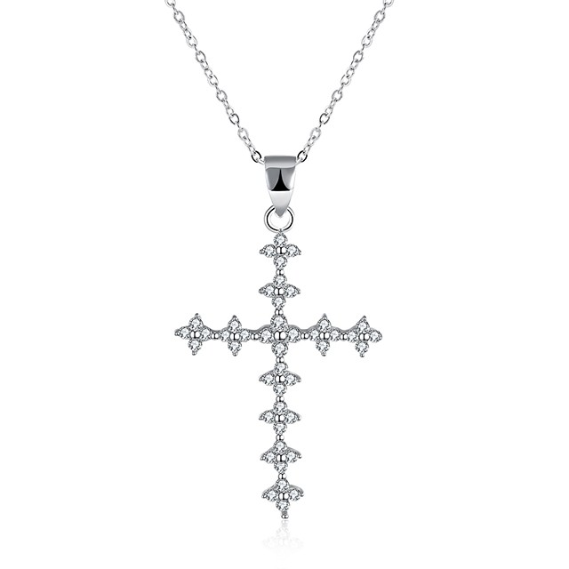 Women's Cubic Zirconia tiny diamond Pendant Necklace Cross Ladies Fashion S925 Sterling Silver Silver Necklace Jewelry One-piece Suit For Gift Daily