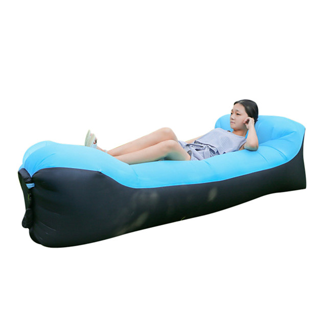Air Sofa Inflatable Sofa Sleep lounger Air Bed Outdoor Camping Waterproof Portable Fast Inflatable Ultra Light (UL) - Polyester Taffeta for 1 person Fishing Beach Camping Spring Summer Fall Black