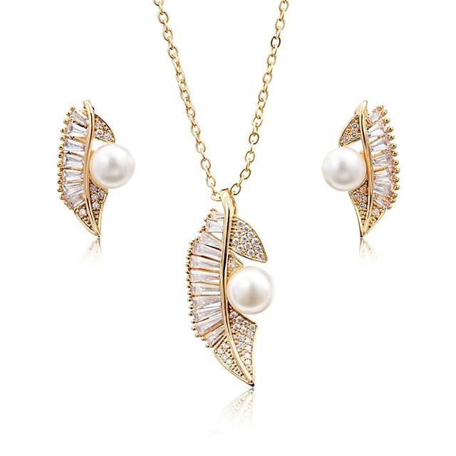 Women's Cubic Zirconia Pearl Jewelry Set Stud Earrings Drop Earrings Leaf Ladies Fashion Elegant Pearl Zircon Silver Plated Earrings Jewelry Gold / Silver For Wedding Party / Pendant Necklace