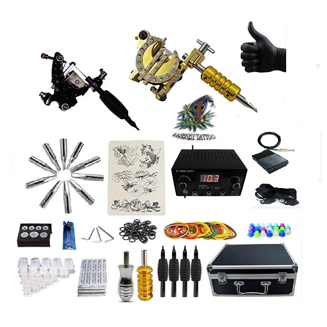 BaseKey Professional Tattoo Kit Tattoo Machine - 2 pcs Tattoo Machines, Voltage Adjustable / Professional Alloy 20 W LED power supply 2 alloy machine liner & shader / Case Included
