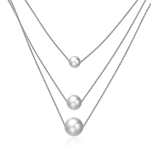 Women's Pearl Pendant Necklace Geometrical Floating Mother Daughter Ladies Fashion Grandmother Sterling Silver Silver Necklace Jewelry One-piece Suit For Gift Daily