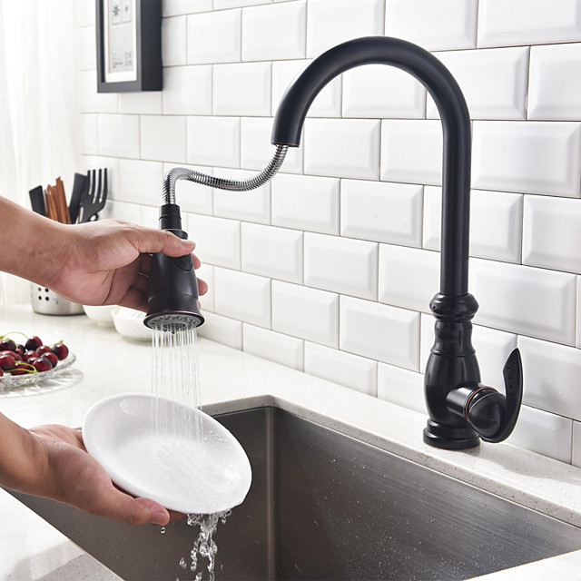 Kitchen faucet - Single Handle One Hole Oil-rubbed Bronze Pull-out / Pull-down / Tall / High Arc Centerset Antique Kitchen Taps / Brass