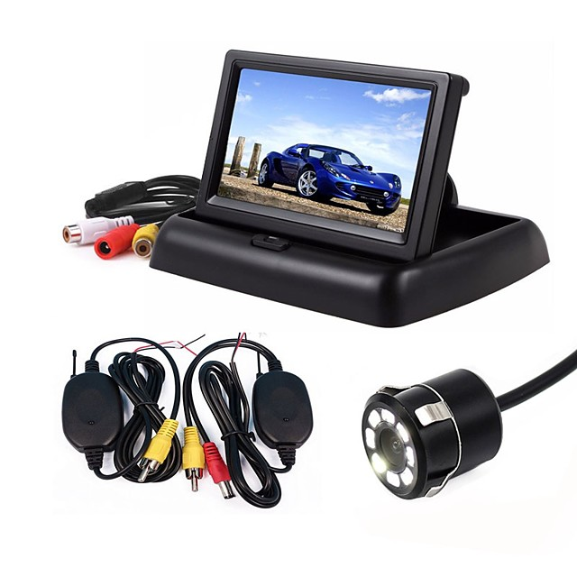 ZIQIAO 3 in 1 4.3inch Wireless Parking Camera 170 Degree Monitor Video System Folding Foldable Car Monitor With Rear View Camera Wireless Kit