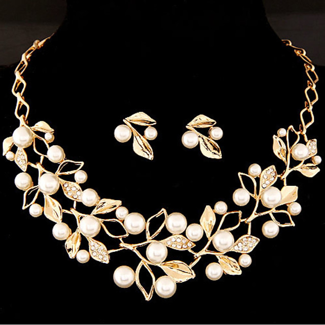 Women's Jewelry Set Leaf Flower Sweet Imitation Pearl Earrings Jewelry Gold / Silver For Wedding Party