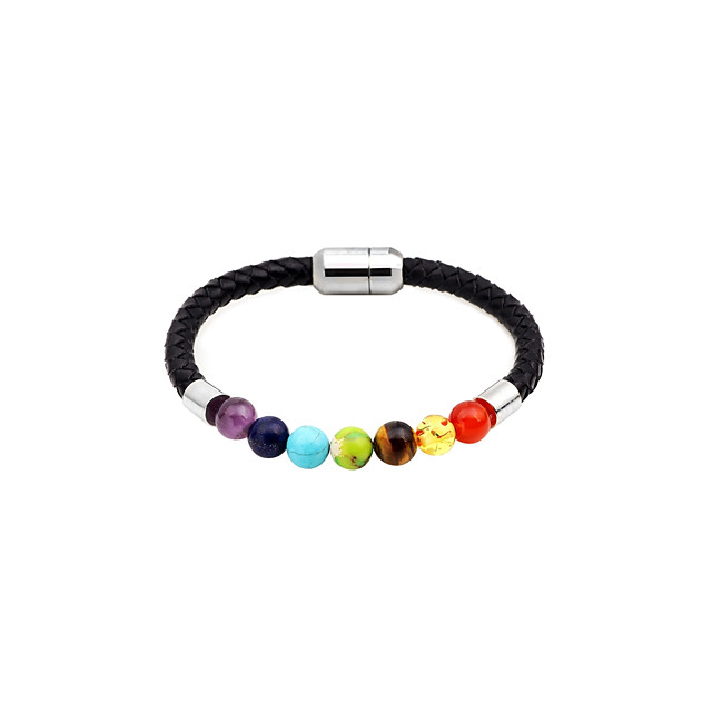 Women's Agate Bead Bracelet Leather Bracelet Ladies Fashion Agate Bracelet Jewelry Gold / Black / Rainbow For Daily Date