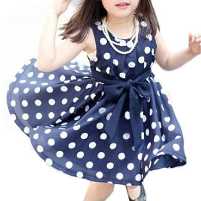 Toddler Little Girls' Dress Polka Dot Daily White Navy Blue Sleeveless Sweet Dresses Summer Regular Fit