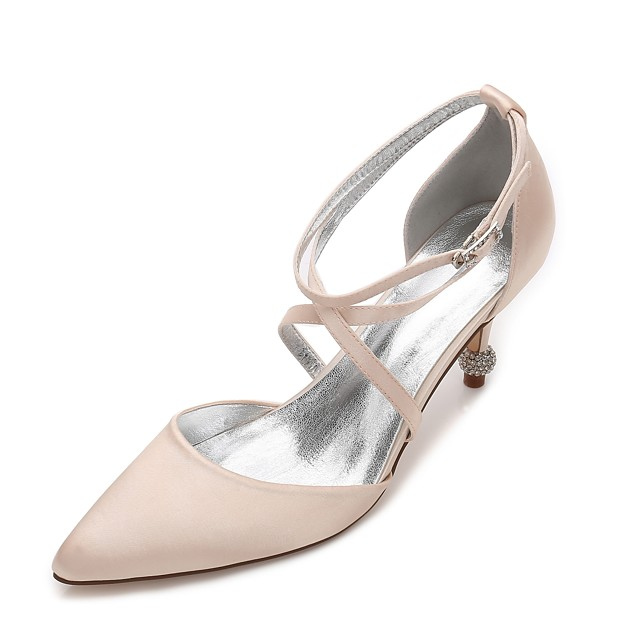 Women's Wedding Shoes Plus Size Cone Heel Pointed Toe Comfort D'Orsay & Two-Piece Basic Pump Wedding Party & Evening Rhinestone Sparkling Glitter Solid Colored Satin Summer White / Black / Champagne