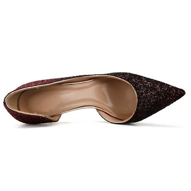 Women's Heels Pumps Pointed Toe Classic Minimalism Wedding Party & Evening Sparkling Glitter Color Block Paillette Walking Shoes Summer Black / Silver / White / Black / 3-4 / EU37
