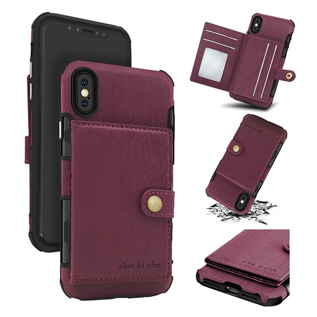 Case For Apple iPhone X / iPhone 8 Plus / iPhone 8 Wallet / Card Holder / Shockproof Back Cover Solid Colored Hard Genuine Leather