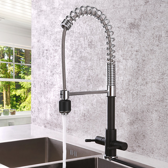 Kitchen faucet - Two Handles One Hole Chrome Pull-out / ­Pull-down Centerset Contemporary Kitchen Taps