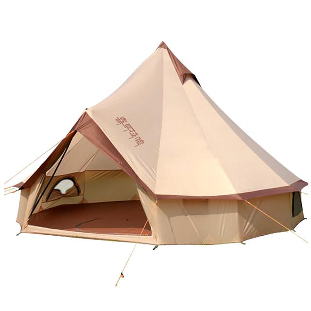8 osoba Bell Tent Glamping šator Vanjski Vjetronepropusnost Otporno na kišu Professzionális Jednostruki sloj šator za kampiranje >3000 mm za Kampiranje / planinarenje / Speleologija Putovanje Pamuk