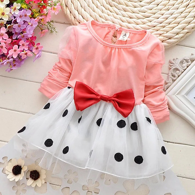 Toddler Girls' Sweet Cute Daily Holiday School Black & White Polka Dot Patchwork Bow Long Sleeve Long Dress Navy Blue / Going out