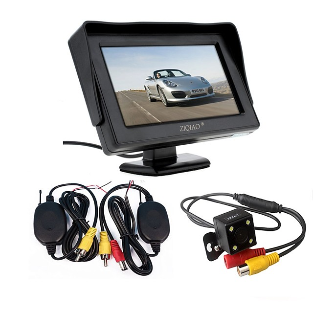 ZIQIAO 3 in 1 Wireless Transmitter Receiver Kit Car Waterproof Backup Rear View Cameras With 4.3 HD Color Monitor Auto Parking