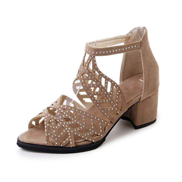 Women's Sandals Summer / Fall Pumps Open Toe Casual Daily Home Rhinestone Faux Leather Black / Beige