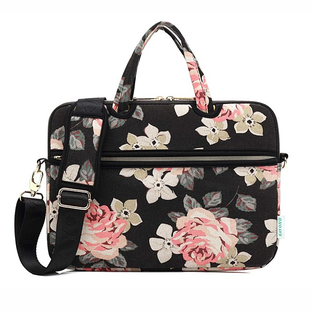13.3 14 15.6 inch Rose Peony Print Lightweight Water Resistant canvas Laptop Messenger Laptop Sleeve Handbags for Macbook/Surface/Xiaomi/HP/Dell/Samsung/Sony Etc