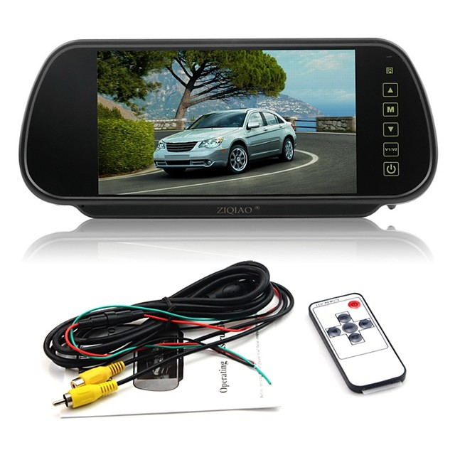 ZIQIAO 7 Inch Color TFT LCD Car Rear View Mirror Monitor Auto Vehicle Parking Rearview Monitor for Reverse Camera