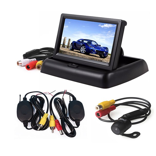 ZIQIAO 3 in 1 Wireless Parking Camera Monitor Video System Folding Foldable Car Monitor With Rear View Camera Wireless Kit