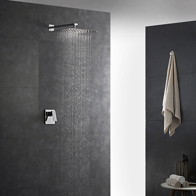 Shower Faucet Set - Rainfall Contemporary Chrome Wall Mounted Ceramic Valve Bath Shower Mixer Taps