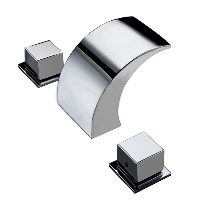Bathroom Sink Faucet - Waterfall Chrome Deck Mounted Two Handles Three HolesBath Taps / Brass