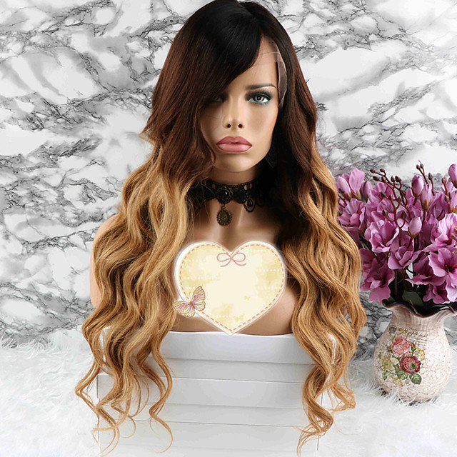 Remy Human Hair Lace Front Wig Layered Haircut Beyonce style Brazilian Hair Wavy Blonde Wig 130% Density with Baby Hair Party Coloring Women's Short Medium Length Long Human Hair Lace Wig Luckysnow