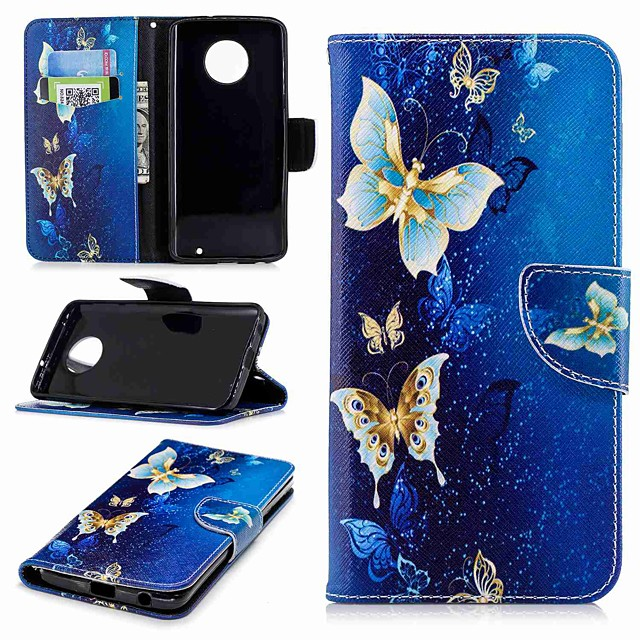 Case For Motorola MOTO G6 / Moto G5s / Moto G5 Plus Wallet / Card Holder / with Stand Full Body Cases Butterfly Hard PU Leather
