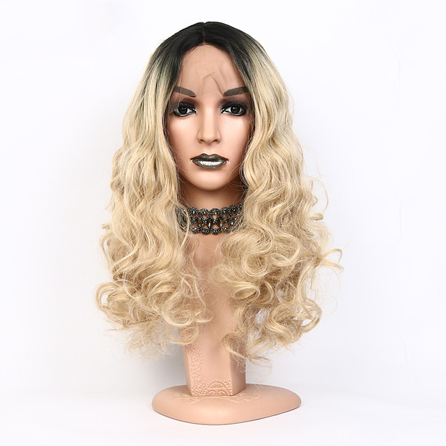Synthetic Lace Front Wig Wavy Bob Pixie Cut Lace Front Wig Blonde Short Medium Length Black / Gold Synthetic Hair Women's New Arrival Hot Sale Dark Roots Blonde Black